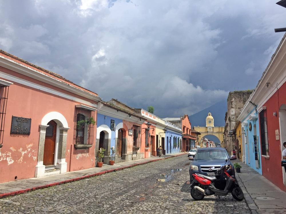 antigua-street-volcano-view-guatemala